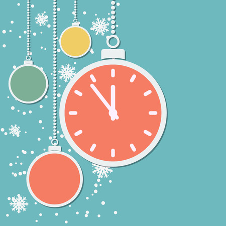 watch new year: Retro style Christmas and New Year vector background with paper balls and cartoon watch