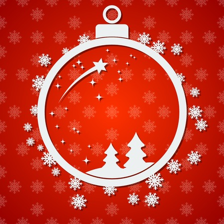 paper ball: Christmas and New Year vector background with white paper ball, stars and snowflakes