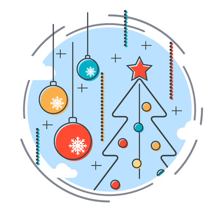 Thin line and flat design style Christmas and New Year vector illustration