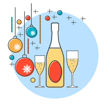 wine gift: Christmas and New Year vector illustration