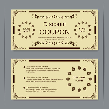 Discount coupon, gift voucher, gift certificate, sticker template