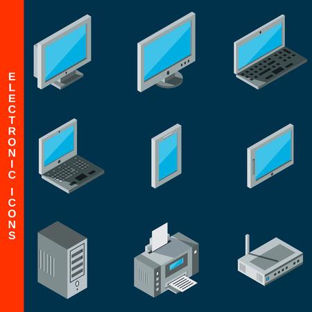lcd monitor printer: Isometric flat 3d computer equipment icons set