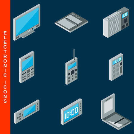 lcd monitor printer: Isometric flat 3d electronic equipment icons set