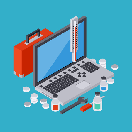 computer devices: Computer service, repair, technical support, first aid concept