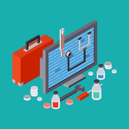 ordinateur de bureau: Service informatique, r�paration, support technique, premier concept de l'aide Illustration