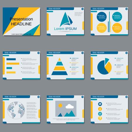 slide show: Professional business presentation, slide show, brochure, booklet, layout, poster design template Illustration