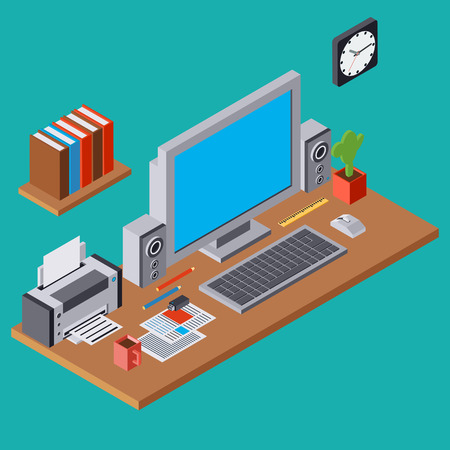 lcd monitor printer: Computer workplace flat 3d isometric concept illustration