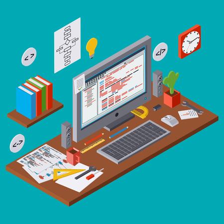 algorithm: Program coding, SEO algorithm improvement, application development, web programming concept Illustration