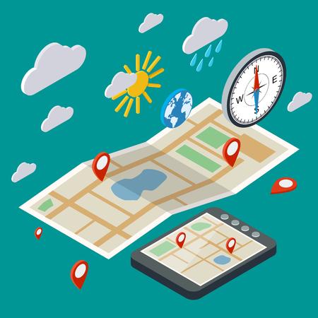 Mobiele navigatie, transport, logistiek isometrische illustratie
