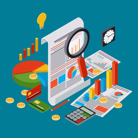 Business report, financial statistic, financial analytics vector concept Иллюстрация