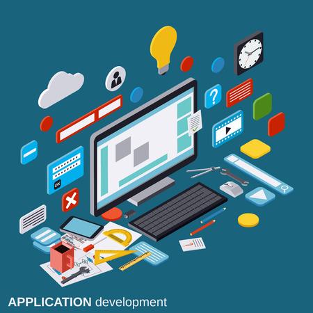 Applicatie-ontwikkeling, SEO-proces, algoritme optimalisatie, website bouw vectorconcept Vector Illustratie