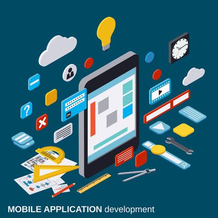 application: Mobile application development, SEO process, algorithm optimization vector concept Illustration