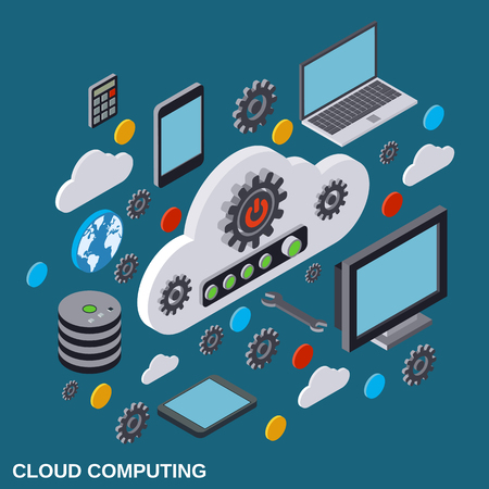 palmtop: Cloud computing, remote control, cloud data storage vector concept Illustration