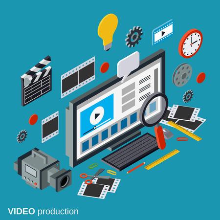 Koncepcja produkcji wideo Ilustracje wektorowe