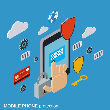 palmtop: Mobile phone protection, computer security, data protection concept Illustration