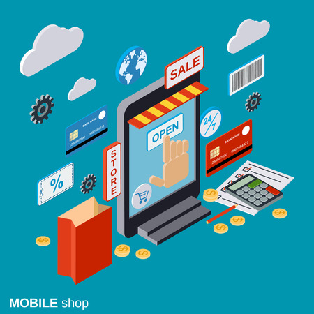 distant: Mobile store, online shopping, distant trade, e-commerce concept Illustration