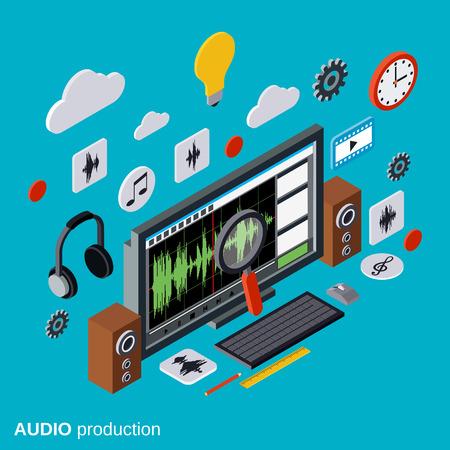 Audio production, montage concept