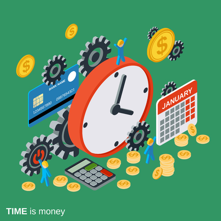 Time is money, time management, business planning concept Ilustracja