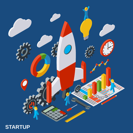 Business startup, innovation, business plan vector concept