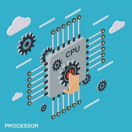 Processor flat isometric vector illustration