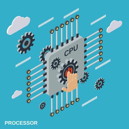 processor: Processor flat isometric vector illustration