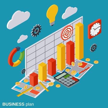 Business plan, report, financial statistics, analytics vector concept