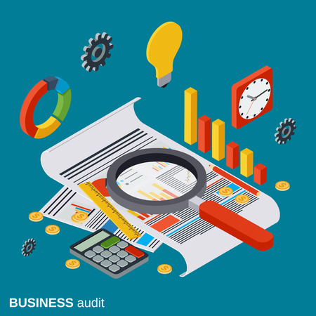 Business audit, analytics, report, financial statistic vector concept