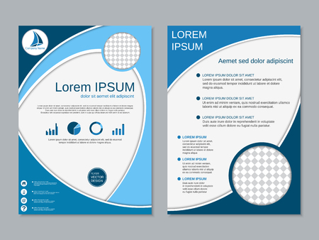vertical format: Modern two-sided flyer design vector template Illustration