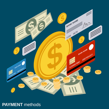 methods: Payment methods, money transfer, financial transaction, banking vector concept