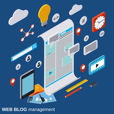Internet blogging, web publication, web journalism, blog management vector concept