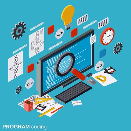 Program coding, SEO optimization, application development, web programming vector concept