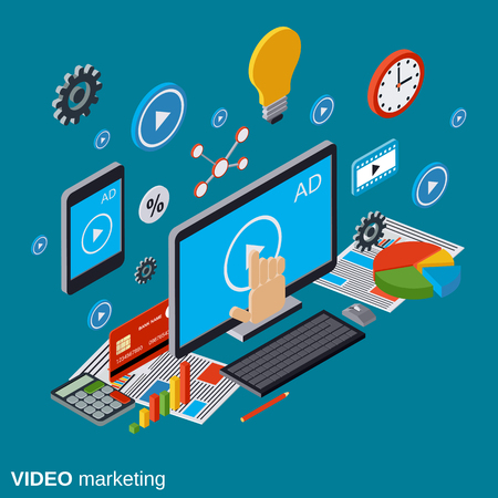 Video marketing, advertising, promotion vector concept Vectores