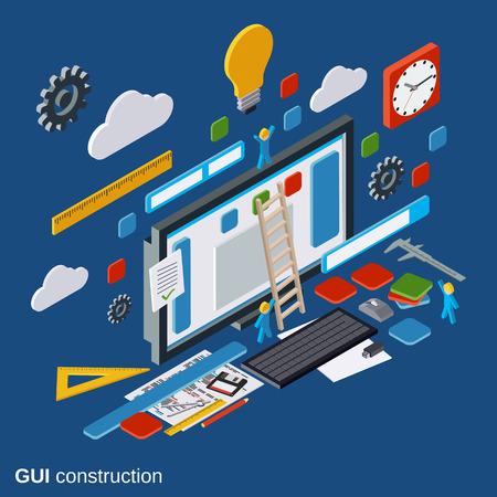 Graphic user interface construction, application development, website design vector concept Ilustracja