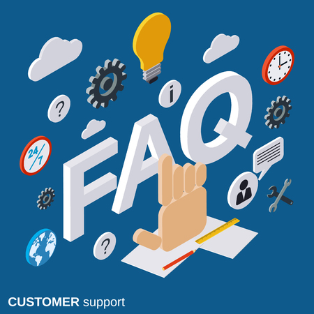 customer support: Customer support, technical support, tutorial, user guide, FAQ vector concept