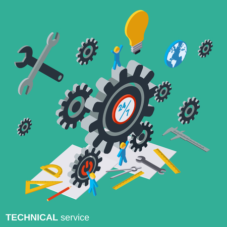 asking: Technical service, customer support vector concept