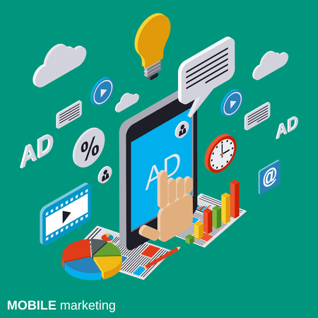 mobile marketing: Mobile marketing, advertising, promotion vector concept Illustration