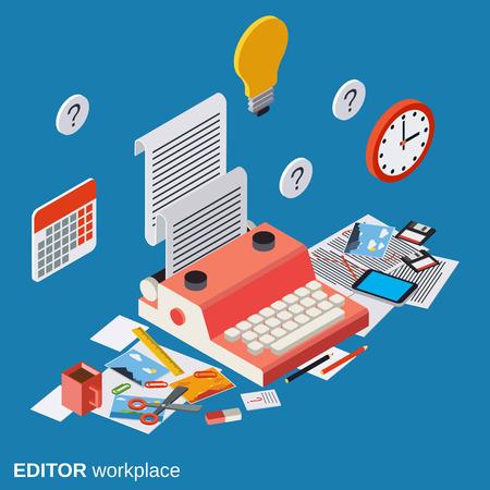 copywriter: Editor, journalist, copywriter workplace vector illustration