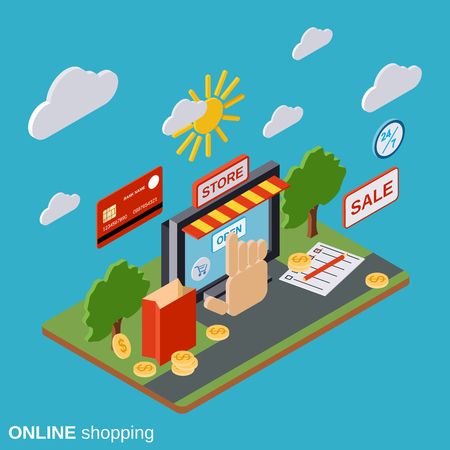 distant: Online shopping, e-commerce, distant trade vector concept Illustration