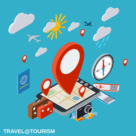 touring: Travel, touring, destination, vacation vector concept