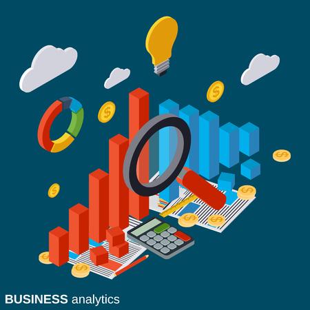 market trends: Financial statistics, business report, market trends analysis vector concept Illustration