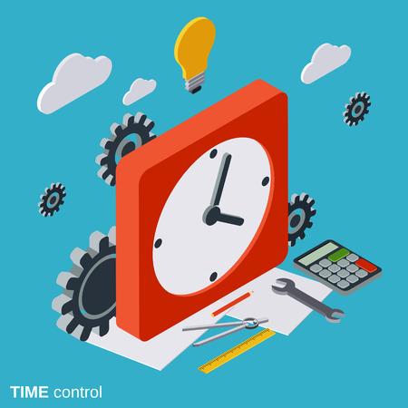 Control de tiempo, plana vector concepto de gestión isométrica Ilustración de vector