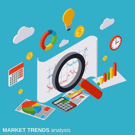 market trends: Market trends analysis, financial statistics, business report, modern infographic vector concept