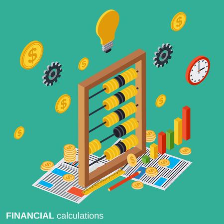 Calculs financiers, planification budgétaire, les coûts concept de vecteur de définition Banque d'images - 59985898