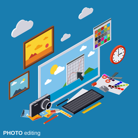 Photo editing, production, montage, retouch vector concept