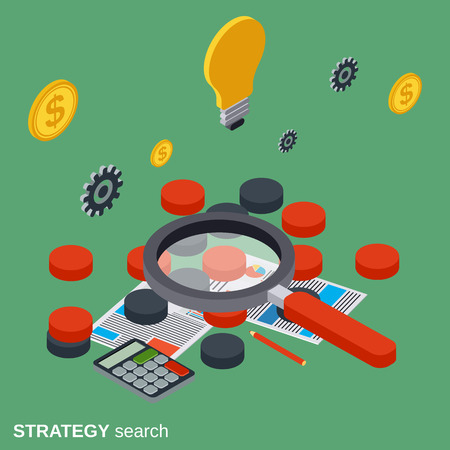 search solution: Strategy search, solution choice, business quest vector concept