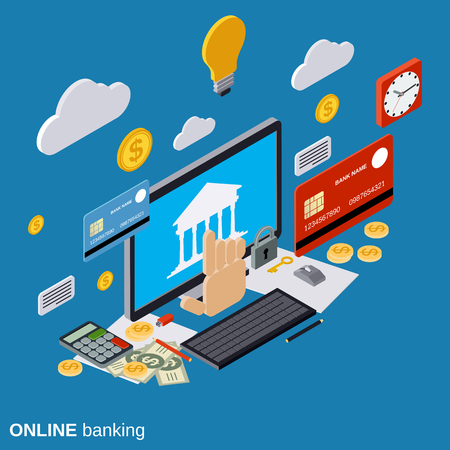 technology transaction: Online banking, payment, money transfer, financial transaction vector concept Illustration