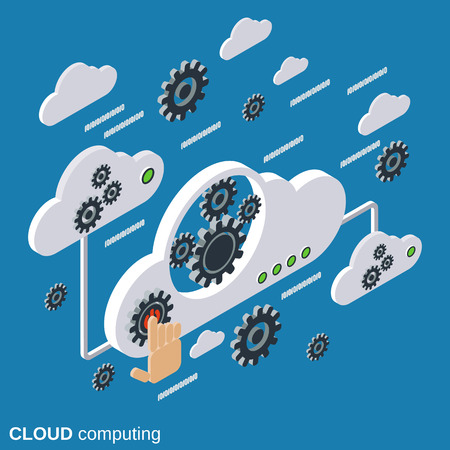processing: Cloud computing, network, data processing vector concept