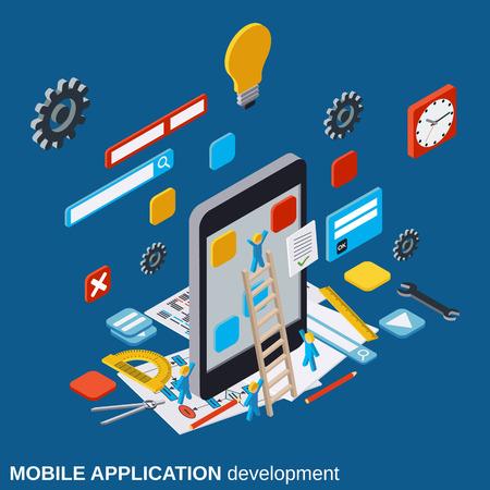 Mobile application development, SEO process, algorithm optimization vector concept Ilustracja