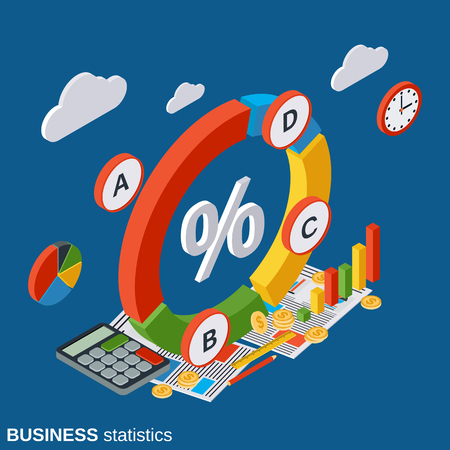concep: Business statistics, financial analytics, presentation vector concep