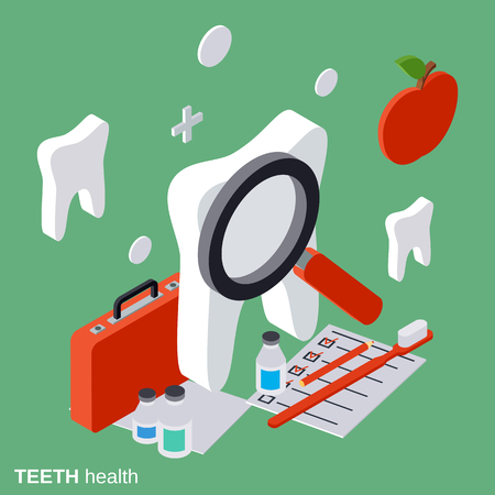 magnyfying glass: Teeth health, stomatology flat isometric vector concept Illustration